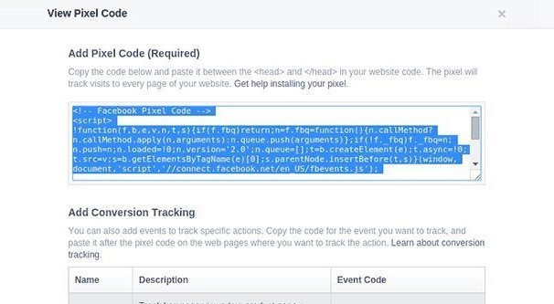 Facebook Tracking Pixel Code Screen