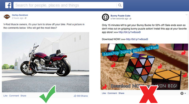 Overly Promotional Facebook Post Example