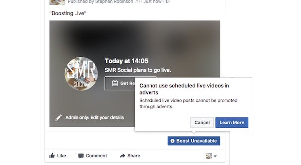 Live Video Boost Unavailable