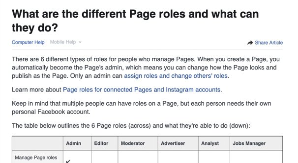 Page Roles on FB