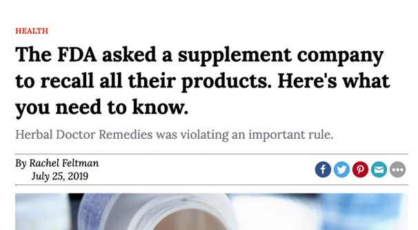 FDA Supplement Recall